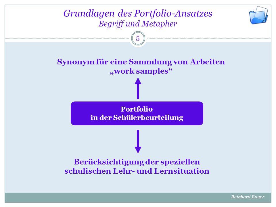 """Grundlagen des Portfolio-Ansatzes Begriff und Metapher 5 Synonym für eine Sammlung von Arbeiten """"work samples"""" Berücksichtigung der speziellen schulis"""