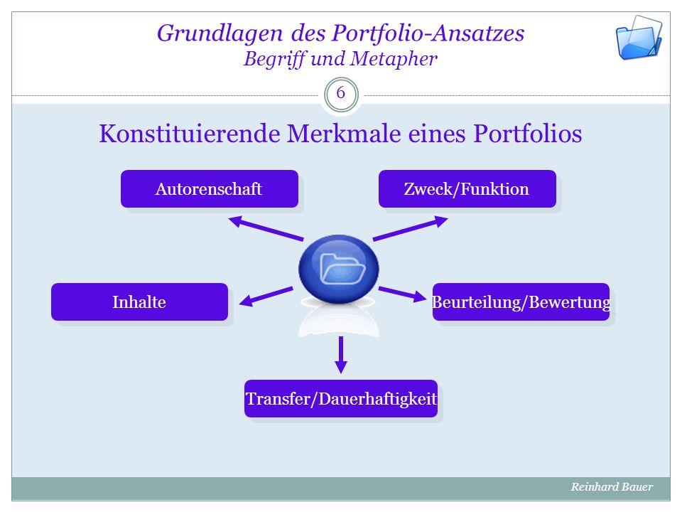 Grundlagen des Portfolio-Ansatzes Begriff und Metapher Abgrenzung zwischen berufs- und schulbezogenem Portfolio 7 Reinhard Bauer