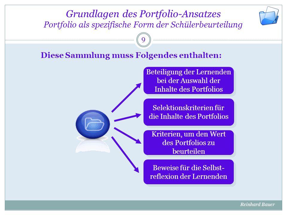 Grundlagen des Portfolio-Ansatzes Portfolio als spezifische Form der Schülerbeurteilung 9 Reinhard Bauer Beteiligung der Lernenden bei der Auswahl der