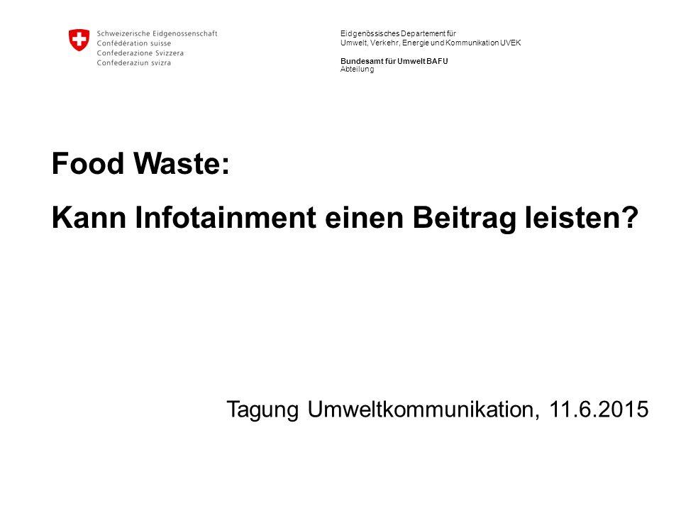 Eidgenössisches Departement für Umwelt, Verkehr, Energie und Kommunikation UVEK Bundesamt für Umwelt BAFU Food Waste: Kann Infotainment einen Beitrag leisten.