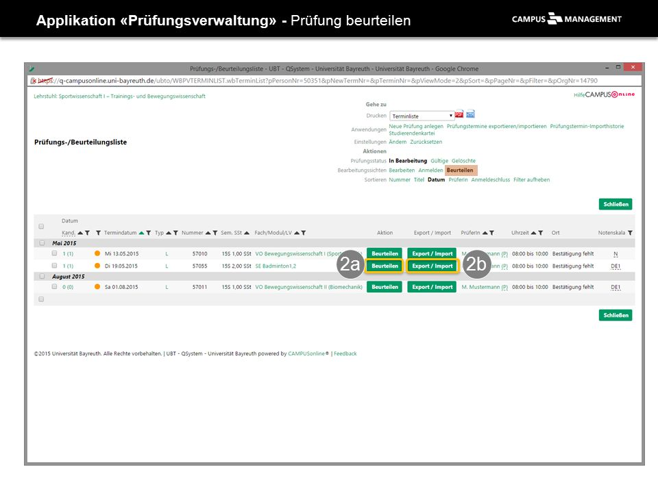 Applikation «Prüfungsverwaltung» - Prüfung beurteilen 2a2b