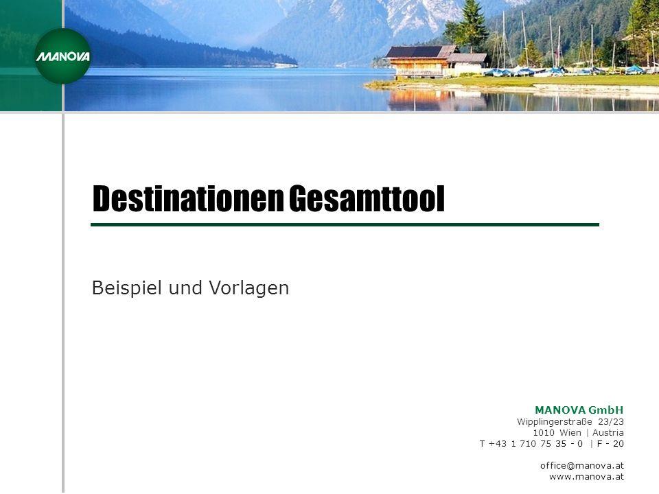 MANOVA GmbH Wipplingerstraße 23/23 1010 Wien | Austria T +43 1 710 75 35 - 0 | F - 20 office@manova.at www.manova.at Destinationen Gesamttool Beispiel und Vorlagen