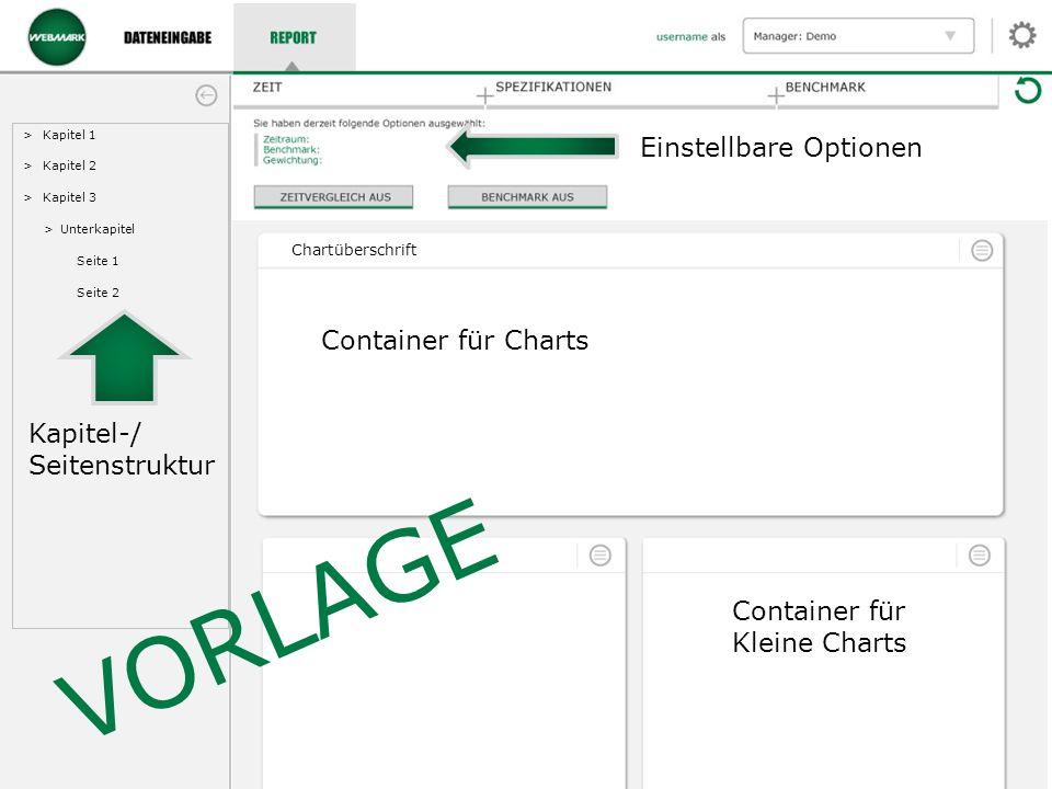 >Kapitel 1 >Kapitel 2 >Kapitel 3 >Unterkapitel Seite 1 Seite 2 Chartüberschrift VORLAGE Kapitel-/ Seitenstruktur Einstellbare Optionen Container für Charts Container für Kleine Charts