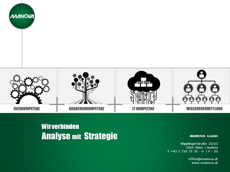 MANOVA GmbH Wipplingerstraße 23/23 1010 Wien | Austria T +43 1 710 75 35 - 0 | F - 20 office@manova.at www.manova.at Wir verbinden Analyse mit Strateg
