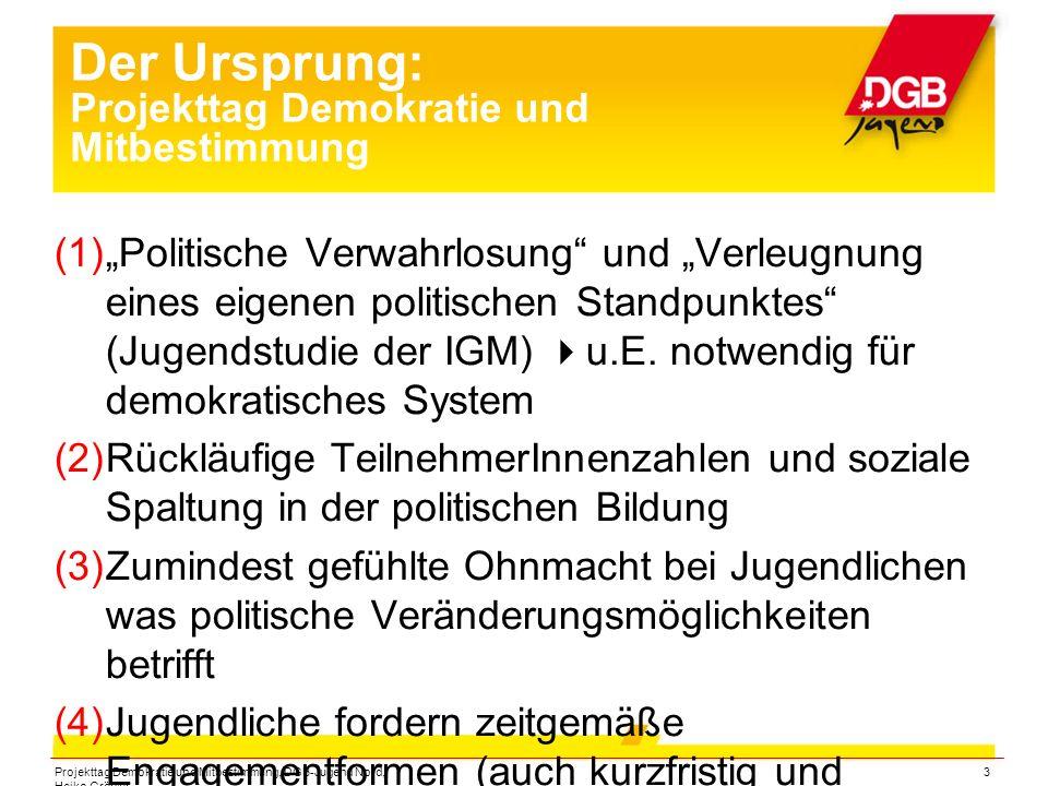 """Projekttag Demokratie und Mitbestimmung, DGB-Jugend Nord, Heiko Gröpler 3 Der Ursprung: Projekttag Demokratie und Mitbestimmung  """"Politische Verwah"""