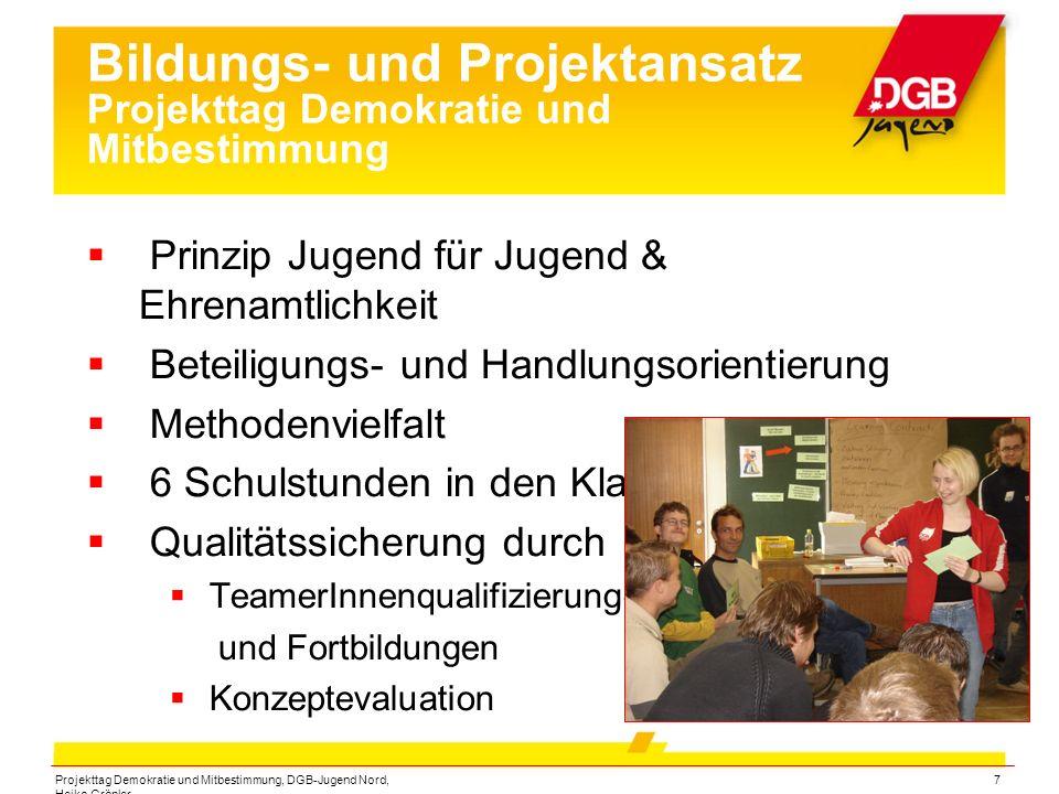 Projekttag Demokratie und Mitbestimmung, DGB-Jugend Nord, Heiko Gröpler 7 Bildungs- und Projektansatz Projekttag Demokratie und Mitbestimmung  Prinzi