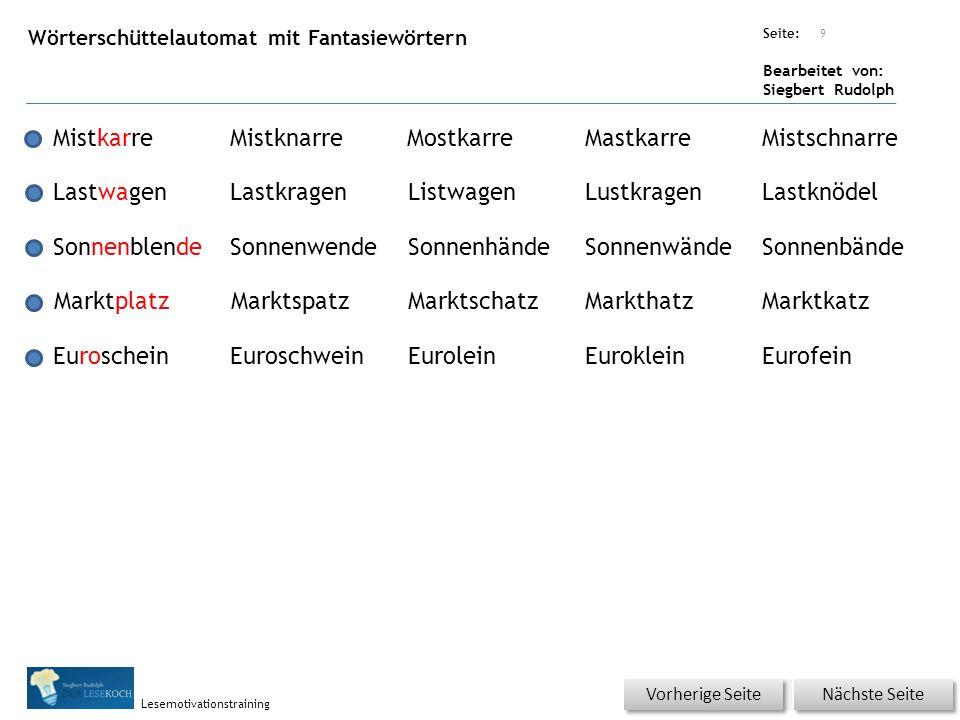 Übungsart: Seite: Bearbeitet von: Siegbert Rudolph Lesemotivationstraining Wörterschüttelautomat mit Fantasiewörtern 9 MistkarreMistknarreMostkarreMas