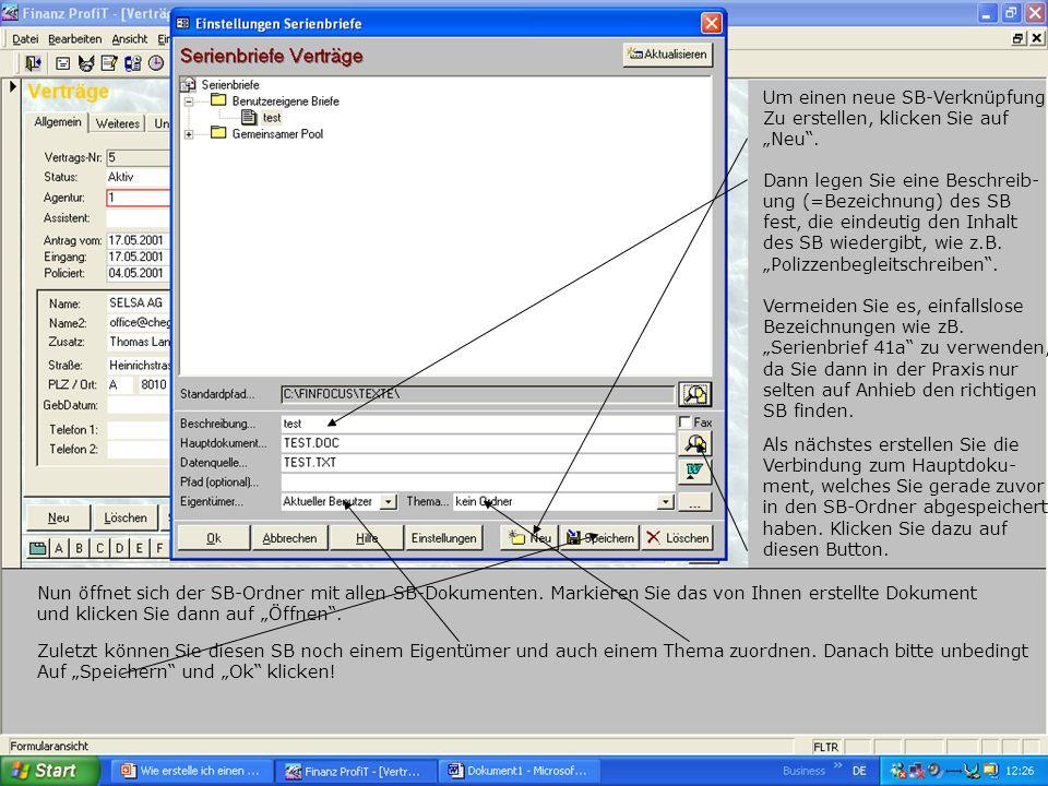Als letzter Schritt wird nun der eigentliche Serienbrief erstellt, indem Datenfelder wie z.B.