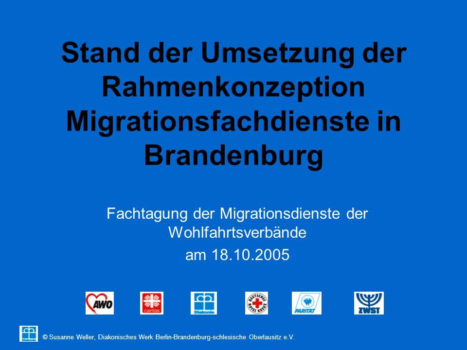 © Susanne Weller, Diakonisches Werk Berlin-Brandenburg-schlesische Oberlausitz e.V. Stand der Umsetzung der Rahmenkonzeption Migrationsfachdienste in
