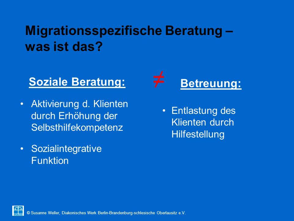 © Susanne Weller, Diakonisches Werk Berlin-Brandenburg-schlesische Oberlausitz e.V. Migrationsspezifische Beratung – was ist das? Soziale Beratung: Ak
