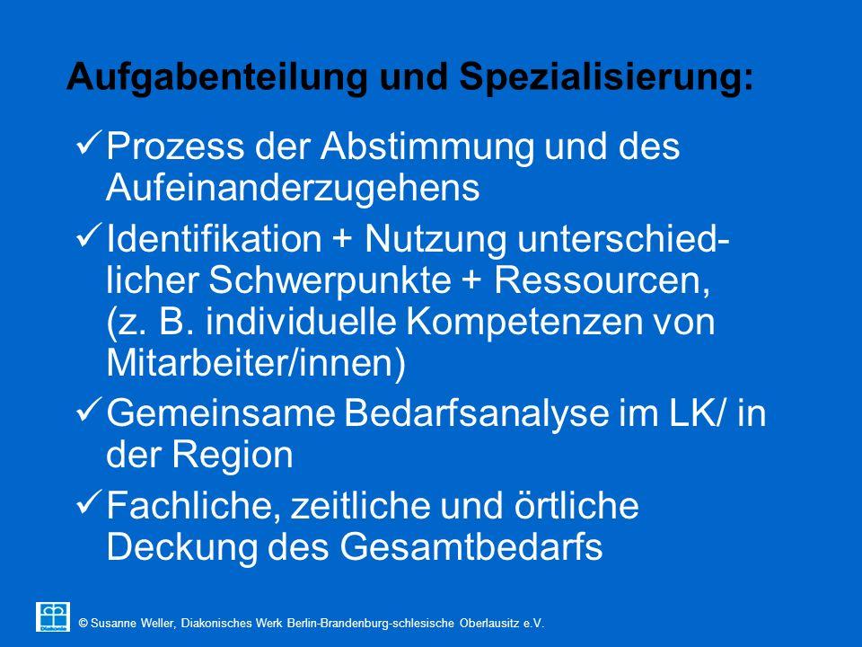 © Susanne Weller, Diakonisches Werk Berlin-Brandenburg-schlesische Oberlausitz e.V. Aufgabenteilung und Spezialisierung: Prozess der Abstimmung und de