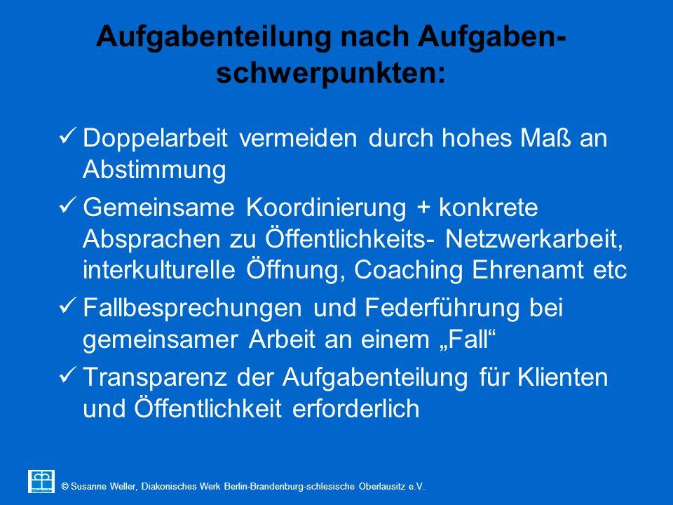 © Susanne Weller, Diakonisches Werk Berlin-Brandenburg-schlesische Oberlausitz e.V. Aufgabenteilung nach Aufgaben- schwerpunkten: Doppelarbeit vermeid