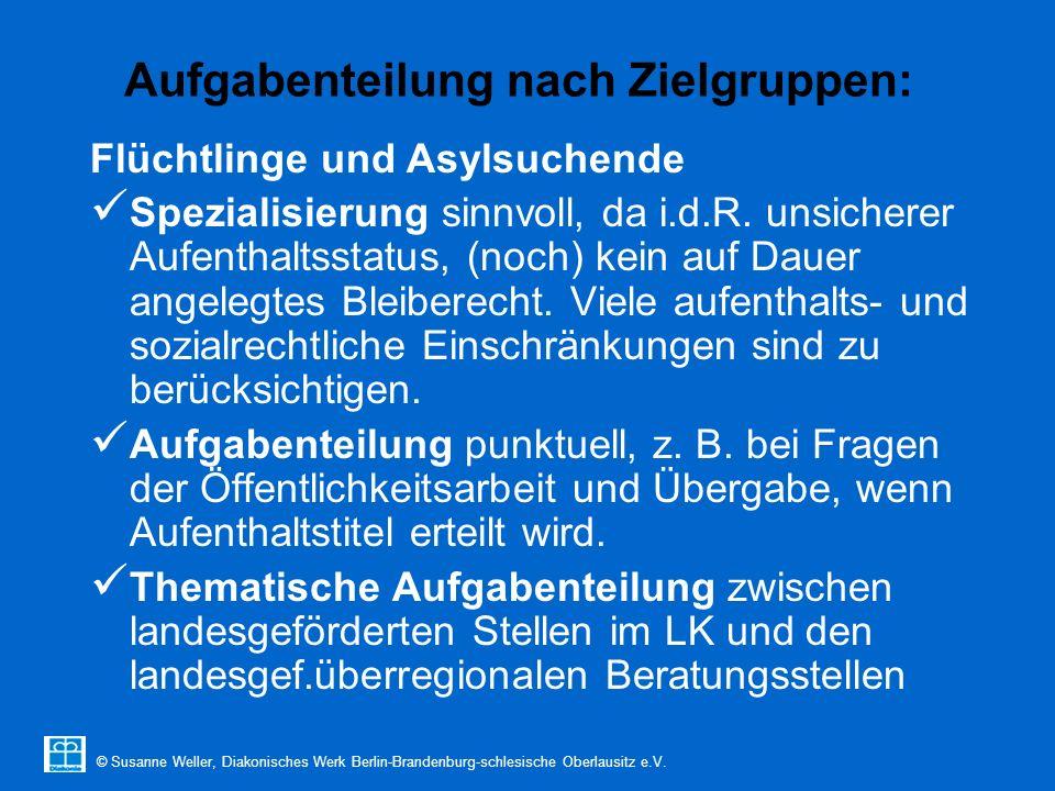 © Susanne Weller, Diakonisches Werk Berlin-Brandenburg-schlesische Oberlausitz e.V. Aufgabenteilung nach Zielgruppen: Flüchtlinge und Asylsuchende Spe