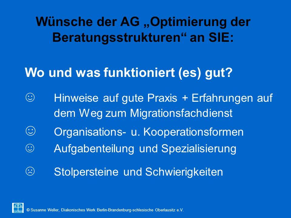 """© Susanne Weller, Diakonisches Werk Berlin-Brandenburg-schlesische Oberlausitz e.V. Wünsche der AG """"Optimierung der Beratungsstrukturen"""" an SIE: Wo un"""