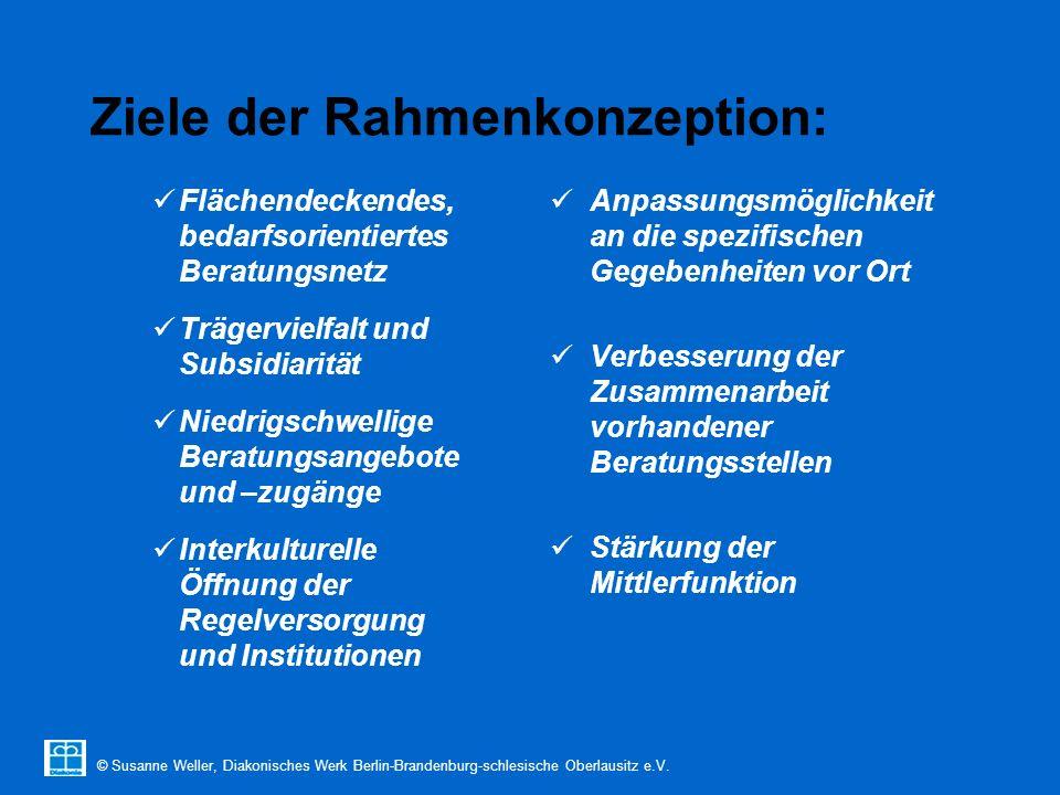© Susanne Weller, Diakonisches Werk Berlin-Brandenburg-schlesische Oberlausitz e.V. Ziele der Rahmenkonzeption: Flächendeckendes, bedarfsorientiertes