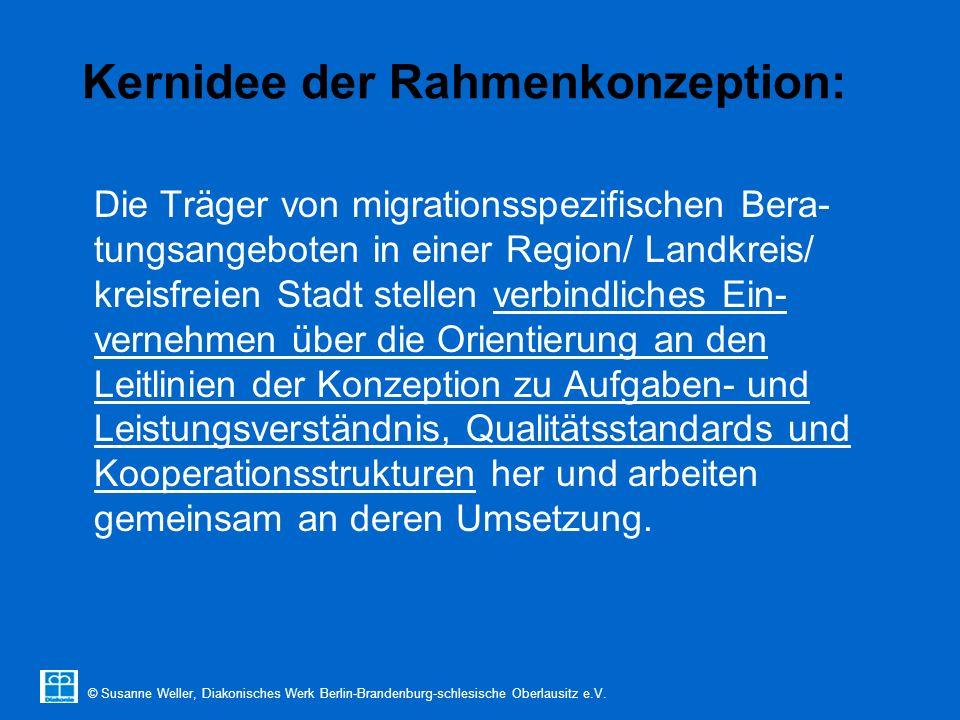 © Susanne Weller, Diakonisches Werk Berlin-Brandenburg-schlesische Oberlausitz e.V. Kernidee der Rahmenkonzeption: Die Träger von migrationsspezifisch
