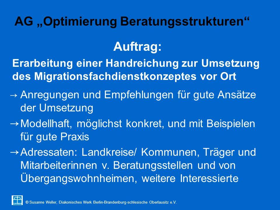 """© Susanne Weller, Diakonisches Werk Berlin-Brandenburg-schlesische Oberlausitz e.V. AG """"Optimierung Beratungsstrukturen"""" → Anregungen und Empfehlungen"""