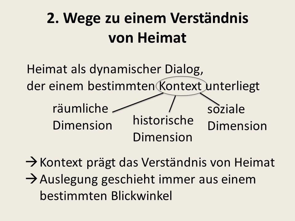 2. Wege zu einem Verständnis von Heimat Heimat als dynamischer Dialog, der einem bestimmten Kontext unterliegt räumliche Dimension soziale Dimension h