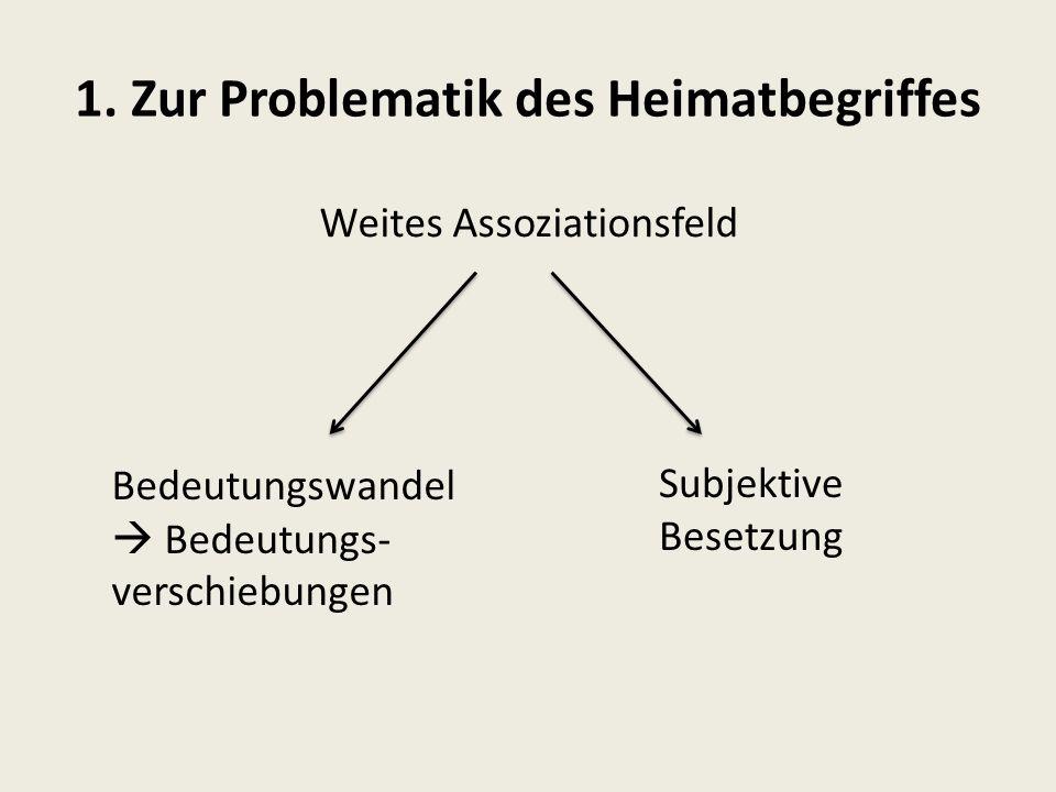 1. Zur Problematik des Heimatbegriffes Bedeutungswandel  Bedeutungs- verschiebungen Weites Assoziationsfeld Subjektive Besetzung
