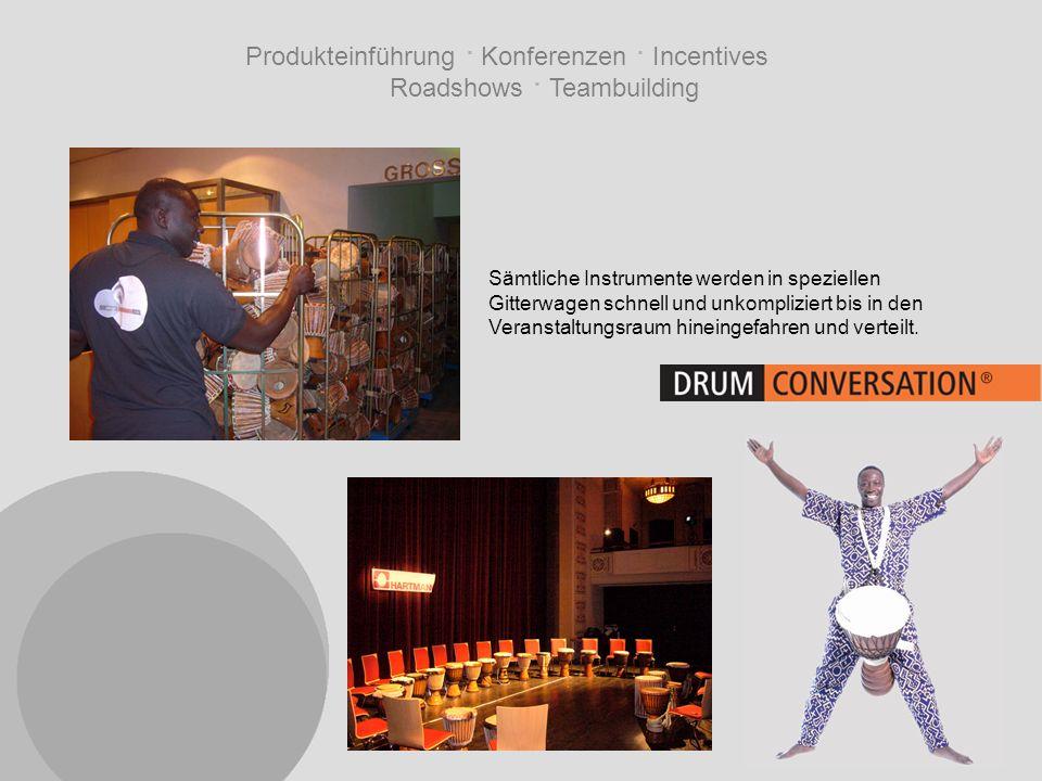 Produkteinführung · Konferenzen · Incentives Roadshows · Teambuilding Sämtliche Instrumente werden in speziellen Gitterwagen schnell und unkompliziert