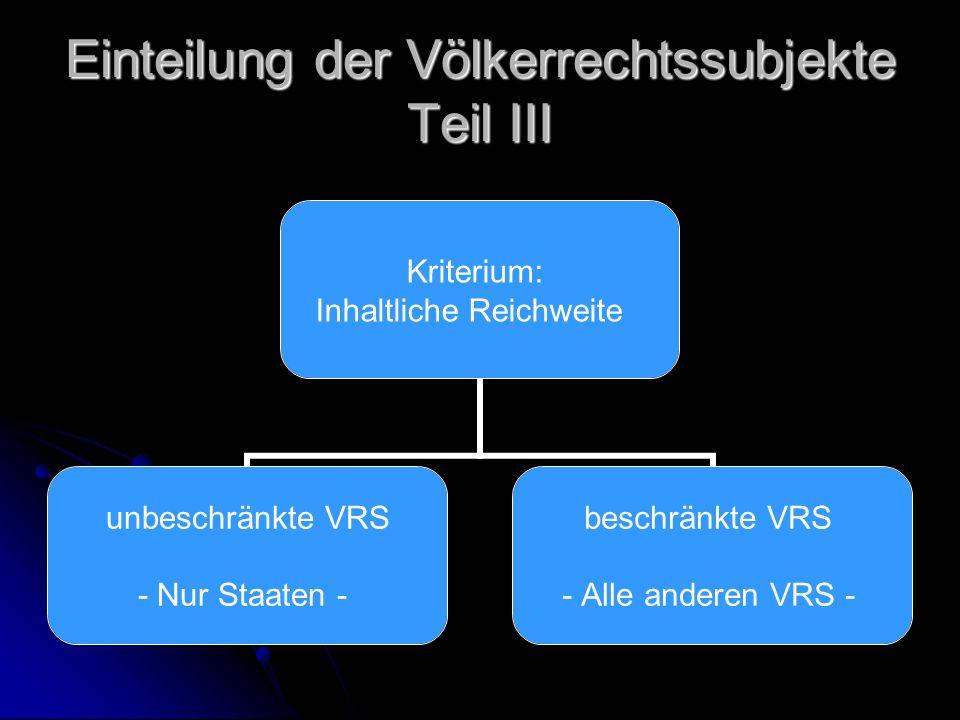 Einteilung der Völkerrechtssubjekte Teil III Kriterium: Inhaltliche Reichweite unbeschränkte VRS - Nur Staaten - beschränkte VRS - Alle anderen VRS -