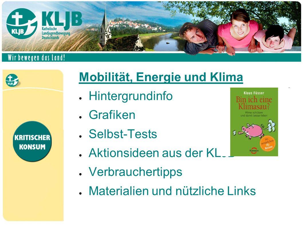Mobilität, Energie und Klima ● Hintergrundinfo ● Grafiken ● Selbst-Tests ● Aktionsideen aus der KLJB ● Verbrauchertipps ● Materialien und nützliche Links