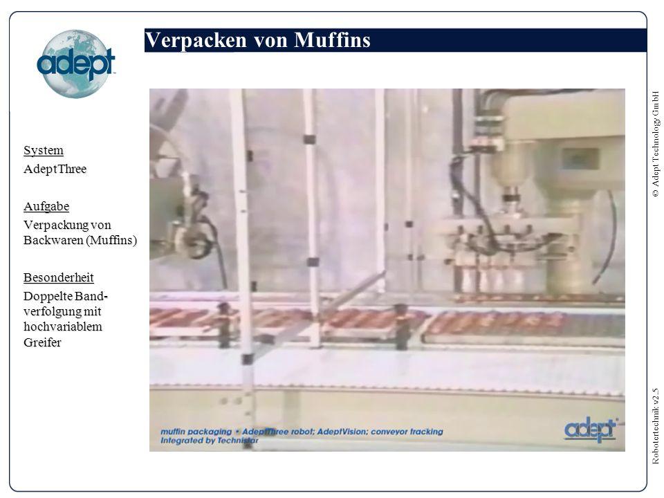 Robotertechnik v2.5 © Adept Technology GmbH Verpacken von Muffins SystemAdeptThreeAufgabe Verpackung von Backwaren (Muffins) Besonderheit Doppelte Band- verfolgung mit hochvariablem Greifer