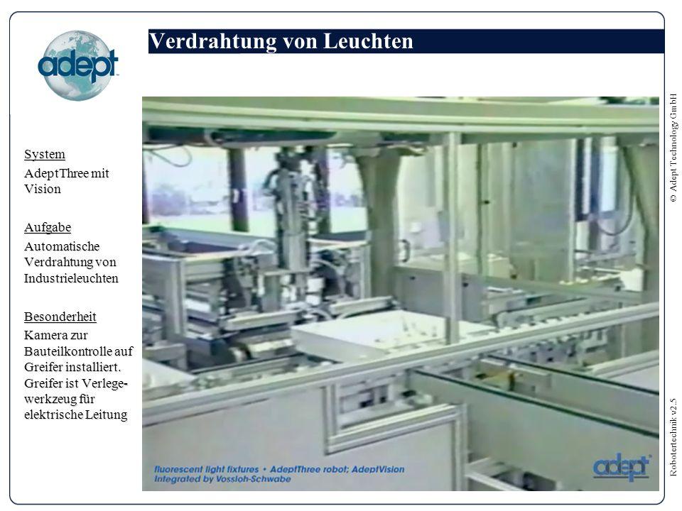 Robotertechnik v2.5 © Adept Technology GmbH Verdrahtung von Leuchten System AdeptThree mit Vision Aufgabe Automatische Verdrahtung von Industrieleuchten Besonderheit Kamera zur Bauteilkontrolle auf Greifer installiert.