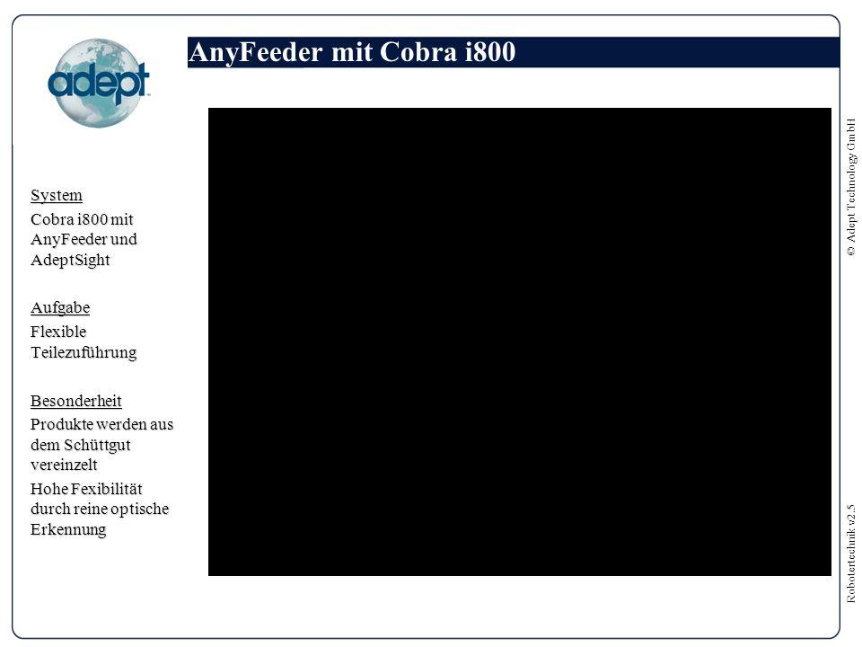 Robotertechnik v2.5 © Adept Technology GmbH AnyFeeder mit Cobra i800 System Cobra i800 mit AnyFeeder und AdeptSight Aufgabe Flexible Teilezuführung Besonderheit Produkte werden aus dem Schüttgut vereinzelt Hohe Fexibilität durch reine optische Erkennung