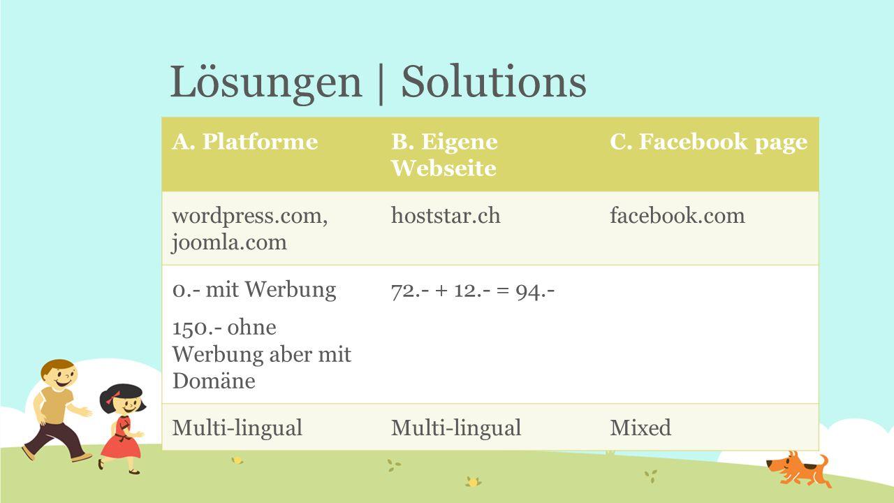 Lösungen | Solutions A. PlatformeB. Eigene Webseite C. Facebook page wordpress.com, joomla.com hoststar.chfacebook.com 0.- mit Werbung 150.- ohne Werb