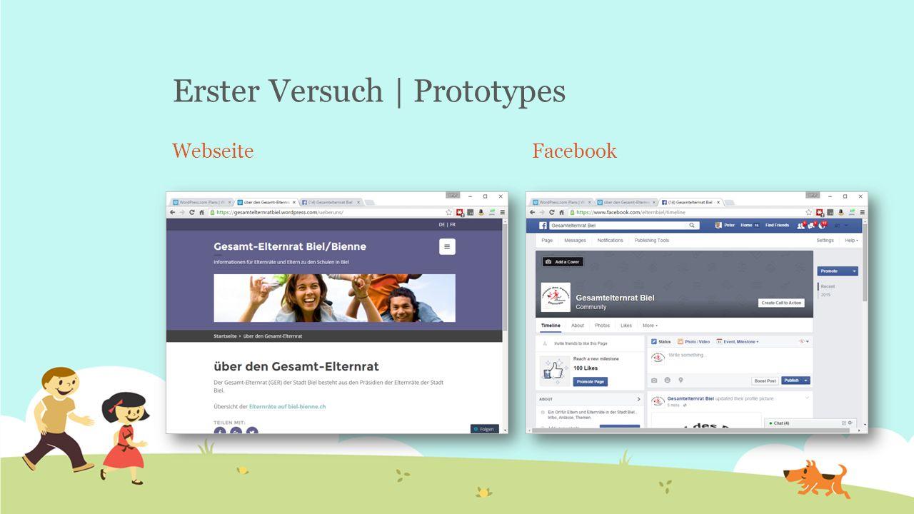 Erster Versuch | Prototypes WebseiteFacebook