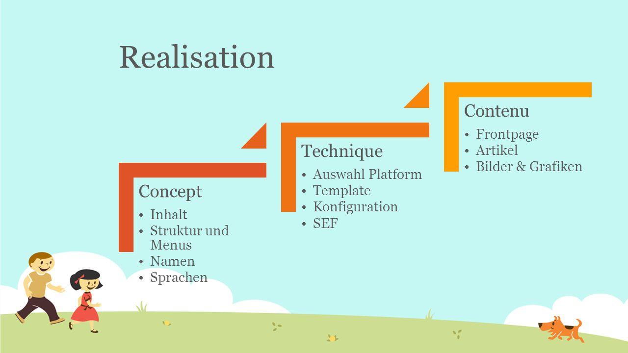 Realisation Concept Inhalt Struktur und Menus Namen Sprachen Technique Auswahl Platform Template Konfiguration SEF Contenu Frontpage Artikel Bilder &