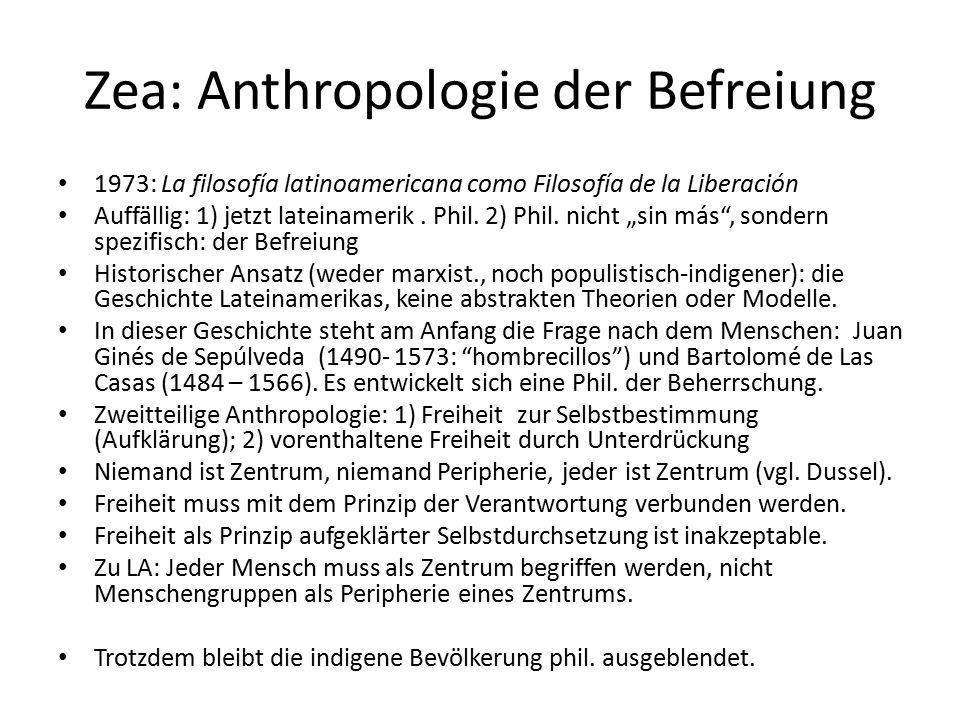 Zea: Anthropologie der Befreiung 1973: La filosofía latinoamericana como Filosofía de la Liberación Auffällig: 1) jetzt lateinamerik.