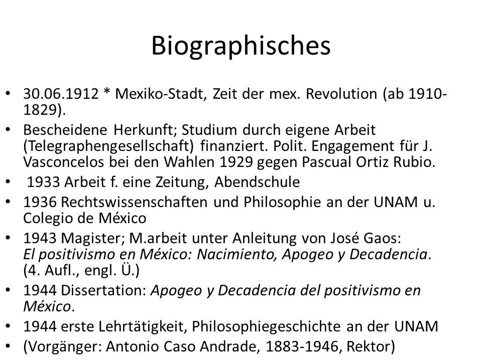 1945-1946 USA, Lateinamerikareise (Stipendium) 1947 Seminario sobe Historia de las Ideas de América 1956 Leiter der Reihe Historia de la Ideas de América 1954-1966 polit.