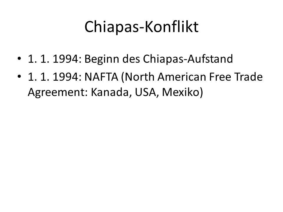 Chiapas-Konflikt 1. 1. 1994: Beginn des Chiapas-Aufstand 1.