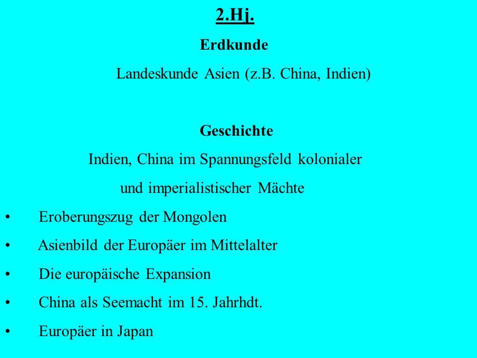 2.Hj.Erdkunde Landeskunde Asien (z.B.