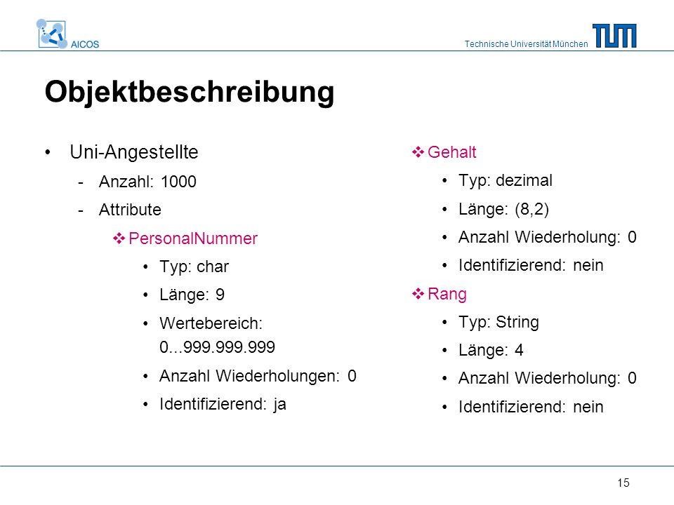 Technische Universität München 15 Objektbeschreibung Uni-Angestellte -Anzahl: 1000 -Attribute  PersonalNummer Typ: char Länge: 9 Wertebereich: 0...99