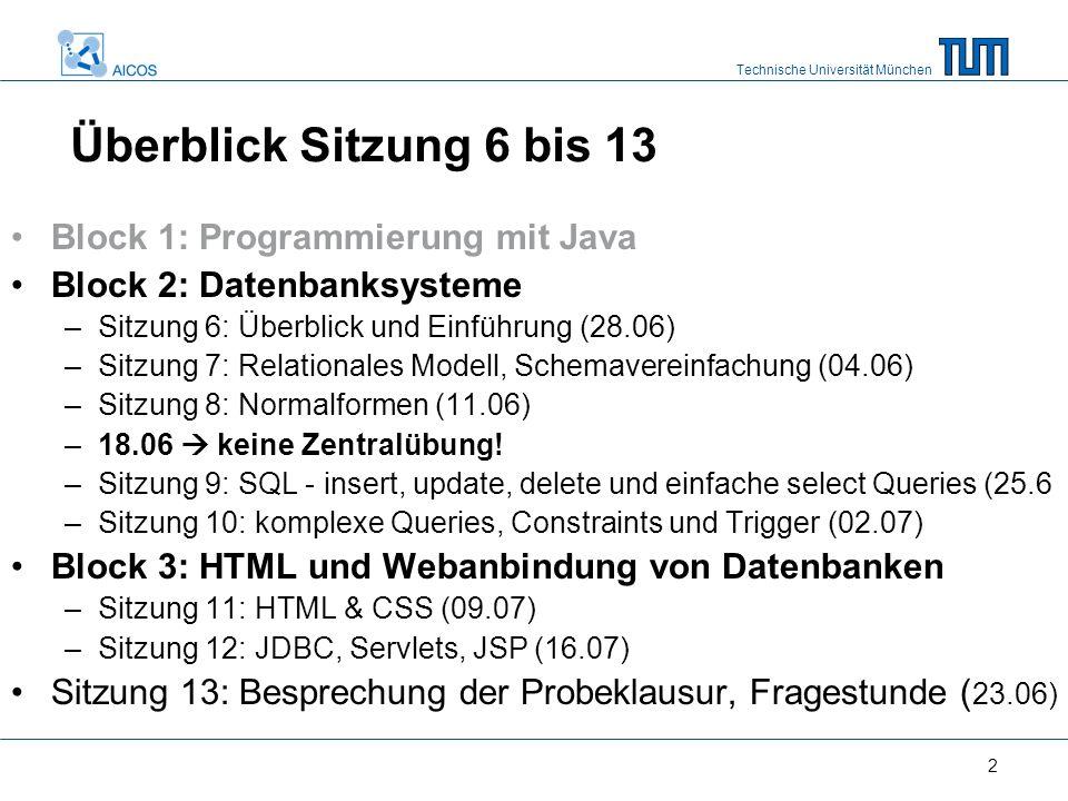 Technische Universität München 2 Überblick Sitzung 6 bis 13 Block 1: Programmierung mit Java Block 2: Datenbanksysteme –Sitzung 6: Überblick und Einfü