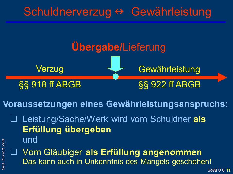SoWi Ü 6- 11 Barta: Zivilrecht online qLeistung/Sache/Werk wird vom Schuldner als Erfüllung übergeben und qVom Gläubiger als Erfüllung angenommen Das kann auch in Unkenntnis des Mangels geschehen.