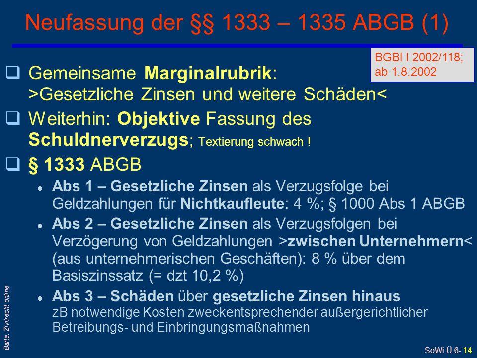 SoWi Ü 6- 14 Barta: Zivilrecht online Neufassung der §§ 1333 – 1335 ABGB (1) qGemeinsame Marginalrubrik: >Gesetzliche Zinsen und weitere Schäden< qWeiterhin: Objektive Fassung des Schuldnerverzugs ; Textierung schwach .