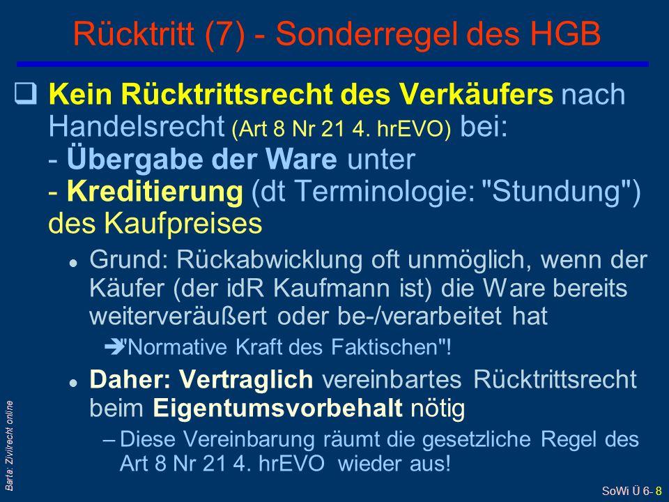 SoWi Ü 6- 8 Barta: Zivilrecht online qKein Rücktrittsrecht des Verkäufers nach Handelsrecht (Art 8 Nr 21 4.