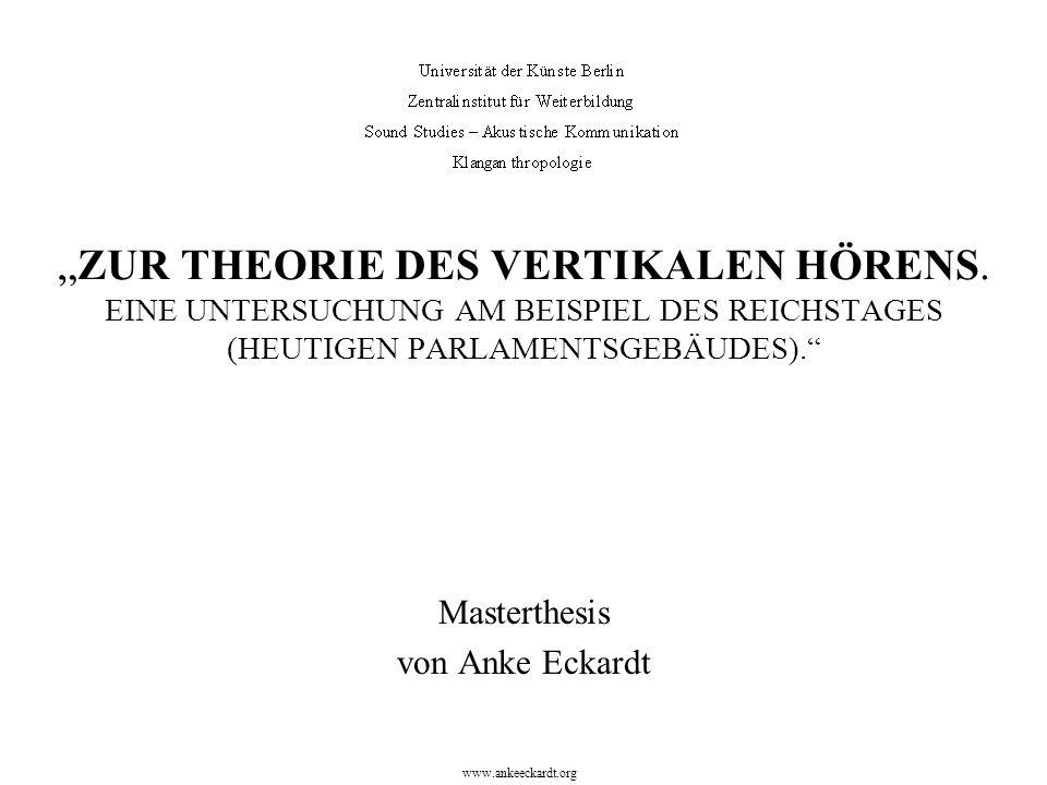""""""" ZUR THEORIE DES VERTIKALEN HÖRENS. EINE UNTERSUCHUNG AM BEISPIEL DES REICHSTAGES (HEUTIGEN PARLAMENTSGEBÄUDES)."""" Masterthesis von Anke Eckardt www.a"""