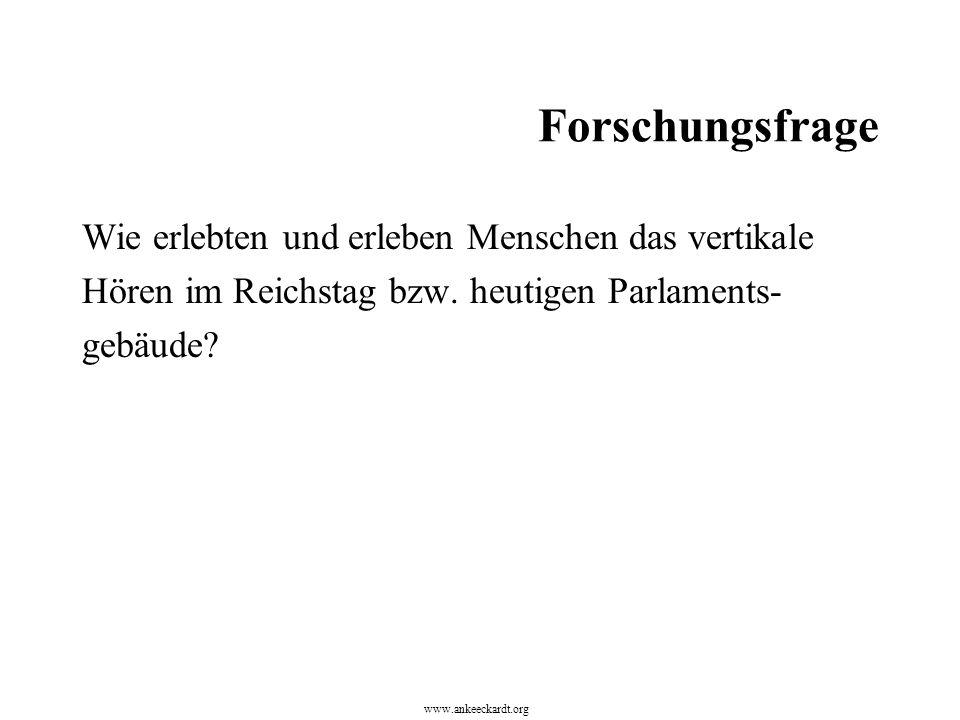 Forschungsfrage Wie erlebten und erleben Menschen das vertikale Hören im Reichstag bzw. heutigen Parlaments- gebäude? www.ankeeckardt.org