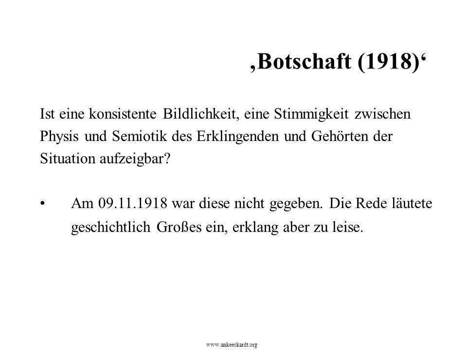 Ist eine konsistente Bildlichkeit, eine Stimmigkeit zwischen Physis und Semiotik des Erklingenden und Gehörten der Situation aufzeigbar? Am 09.11.1918