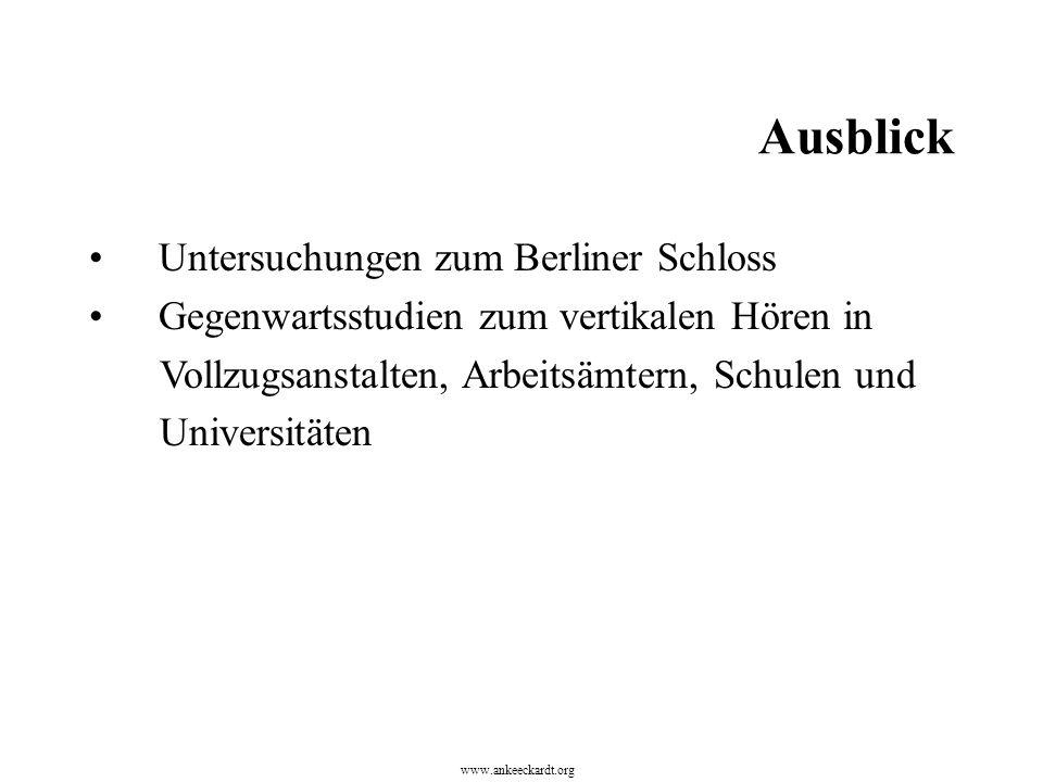 Untersuchungen zum Berliner Schloss Gegenwartsstudien zum vertikalen Hören in Vollzugsanstalten, Arbeitsämtern, Schulen und Universitäten www.ankeecka