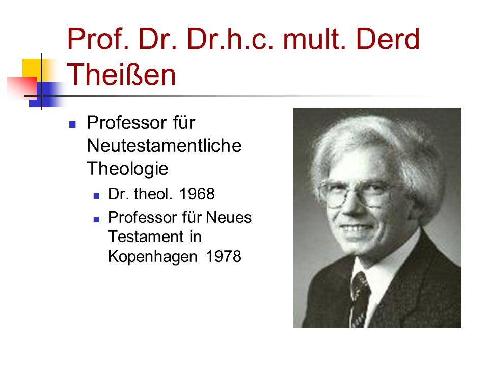 Prof. Dr. Dr.h.c. mult. Derd Theißen Professor für Neutestamentliche Theologie Dr. theol. 1968 Professor für Neues Testament in Kopenhagen 1978