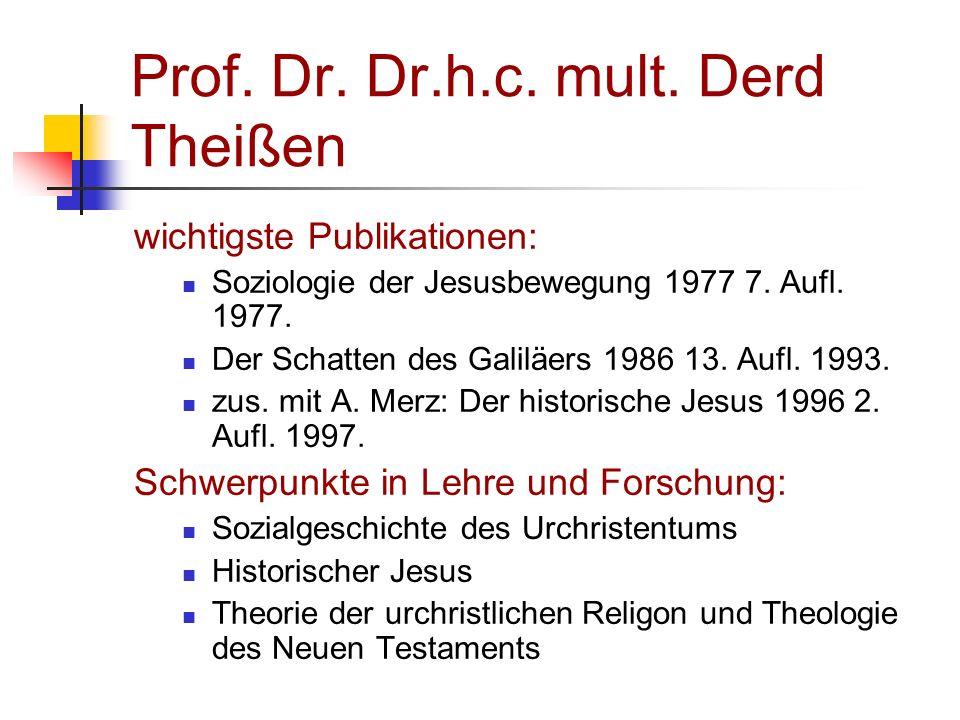 Prof. Dr. Dr.h.c. mult. Derd Theißen wichtigste Publikationen: Soziologie der Jesusbewegung 1977 7. Aufl. 1977. Der Schatten des Galiläers 1986 13. Au