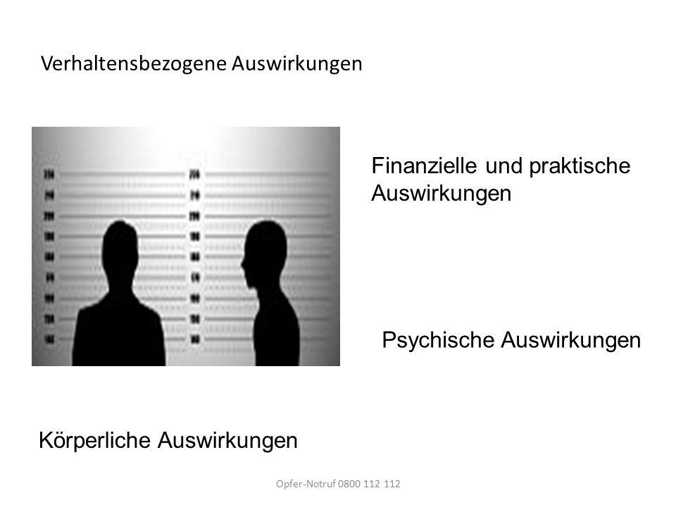 Verhaltensbezogene Auswirkungen Körperliche Auswirkungen Finanzielle und praktische Auswirkungen Psychische Auswirkungen