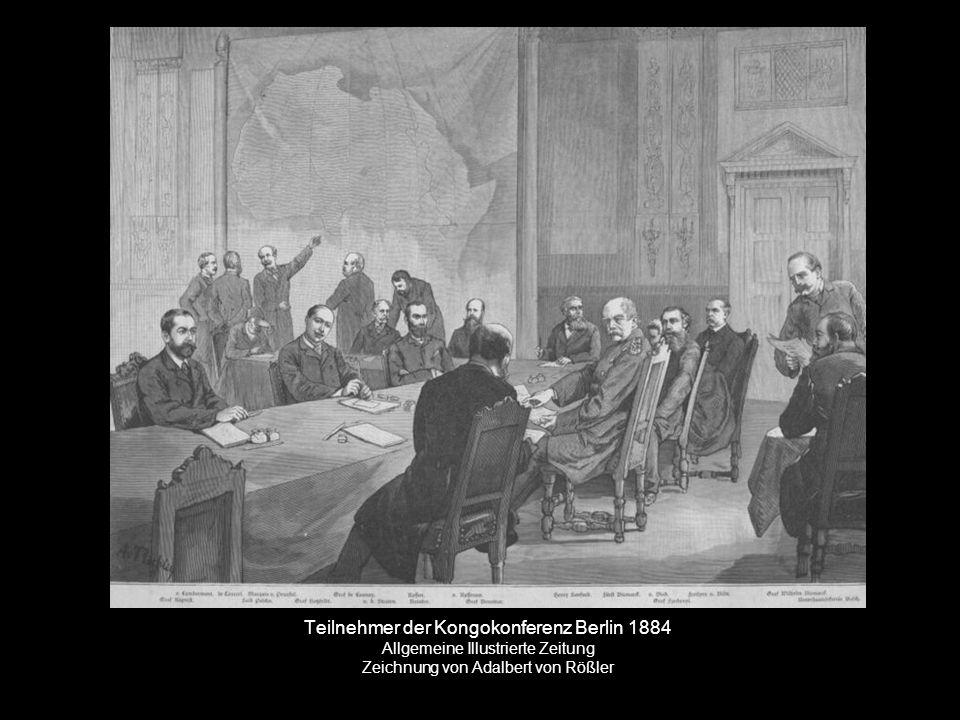 Teilnehmer der Kongokonferenz Berlin 1884 Allgemeine Illustrierte Zeitung Zeichnung von Adalbert von Rößler