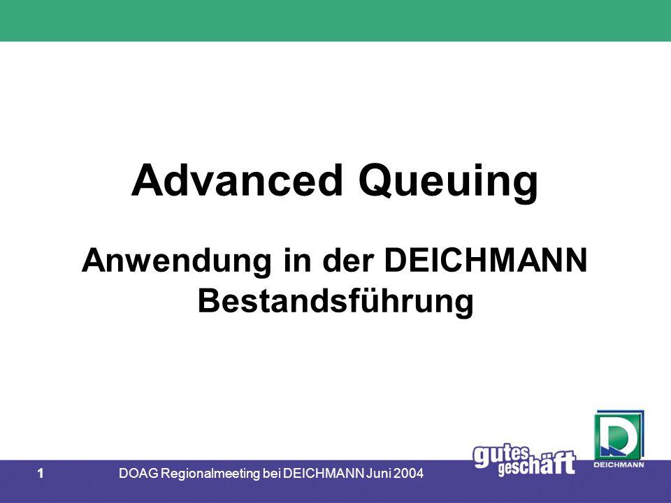 32DOAG Regionalmeeting bei DEICHMANN Juni 2004 ORACLE Advanced Queuing  Einrichten der Queue-Strukturen  Nachrichtentyp definieren  Queue-Tabelle anlegen  Queue anlegen  Queue starten CREATE TYPE wwsdb.myType AS OBJECT ( nr number, text varchar2(100) );
